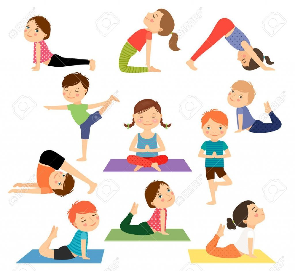 55346132-los-niños-de-yoga-niños-haciendo-yoga-en-diferentes-posturas-de-yoga-ilustración-vectorial | Blog de Infantil Roja – Verde