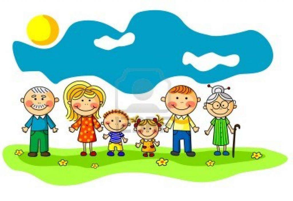 14629863 Gran Familia Feliz En El Estilo De Dibujos Animados